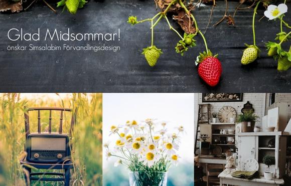 Blandade bilder med somrig känsla, som skapade en bakgrund att skriva en enkel Midsommarhälsning på. För www.simsalabimforvandlingsdesign.se
