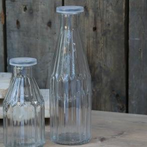 Glasflaska med lock - Glasflaska hög med lock