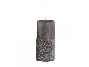 Blockljus - Blockljus mocca med glitter 11x5cm diameter