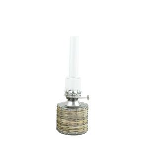 Fotogenlampa rak i flätad korg - Fotogen lampa rak i glas och korg
