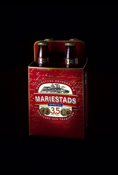 Design av nya Mariestads från Spendrups.