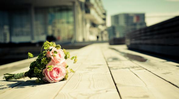 Brudbukett rosa rosor