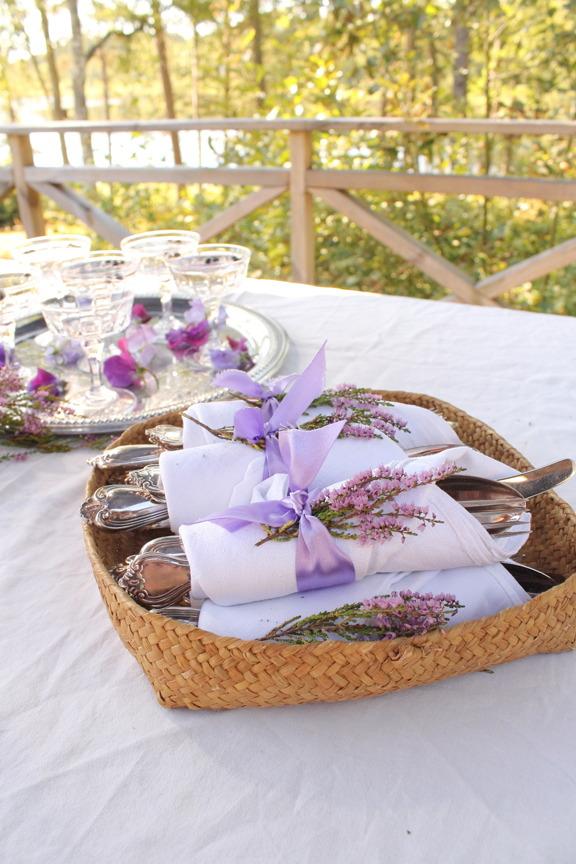ljung, servettring, vintagebröllop