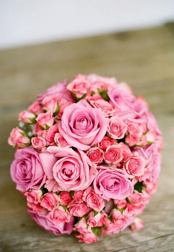 brudbukett rosa kvistrosor