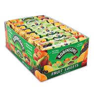 Fruit Rolls by Robinson's  vegan • gluten free Ingredienser: Socker, glukossirap, citronsyra, koncentrerad fruktjuice (0,3%) (apelsin, citron, äpple, jordgubb, svarta vinbär, päron, hallon), naturliga aromer, naturliga färger (antocyaniner, karotener), safflorolja, citronextrakt, morotsextrakt, svarta vinbär extrakt, Spirulina koncentrat.
