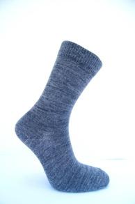 Slät ullstrumpa enfärgad - Slät ullstrumpa grå 36-39