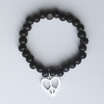 Trä armband - Svart trä armband med hjärta