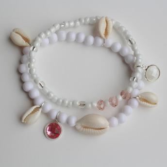 Armandset med snäckor - Rosa Armbandset med snäckor