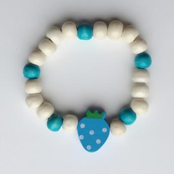 Barnarmband - Blått/trä armband med jordgubbe