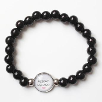 Älskad mamma - svart armband