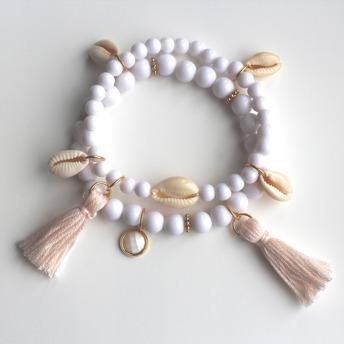Armband set - Armbandset vit/rosa/tofsar