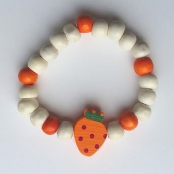 Barnarmband - Orange/trä barnarmband med jordgubbe