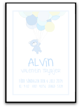 Namn & Födelsebild - Blå nalle - A4 matt fotopapper