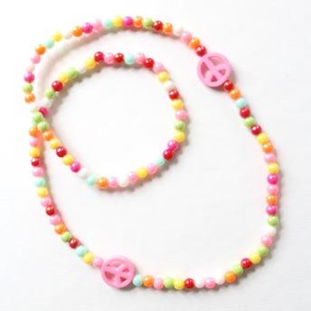 Barn halsband - Blandade färger med peacemärke
