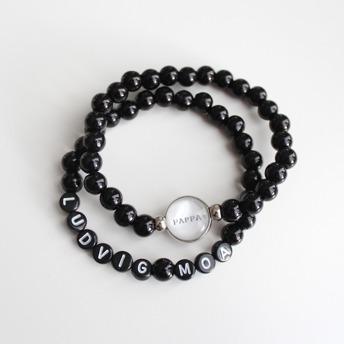 Pappa armband set - Pappa + svarta pärlbokstäver