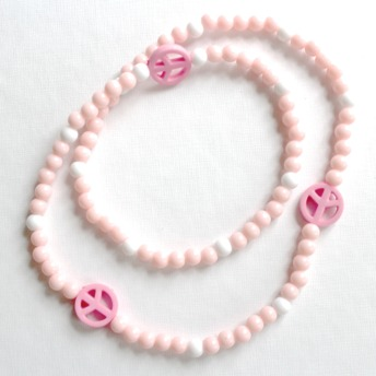Barn halsband - Rosa/vitt medpeacemärken