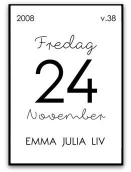 Namn & Födelsebild - A4 matt fotopapper