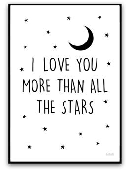 I love you more than all the stars - A4 matt fotopapper