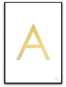 Poster - Välj egen bokstav - Guld A4  matt fotopapper