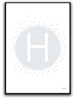 Poster - Välj egen bokstav - Grå/blå A4 matt fotopapper