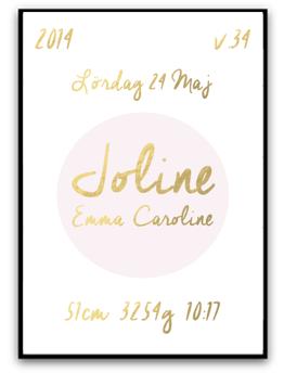 Namn & födelsebild - Rosa/guld - A4 220g matt fotopapper