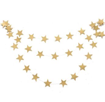 Girlang - Guldstjärnor - Matt yta