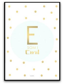 Namnbild mint/guld - A4 matt fotopapper