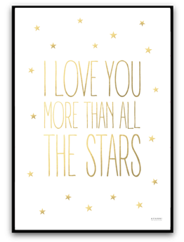 I love you more than all the stars - A4 Guld matt fotopapper
