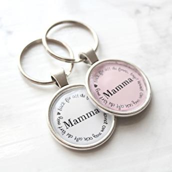 Nyckelring - Mamma, tack.. - Vit
