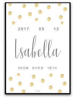 Namn & födelsebild - Guld/grå - A4 matt fotopapper