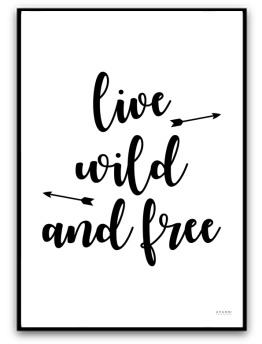 Poster - Live wild and free - A4 matt fotopapper