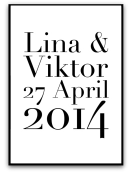 Poster - Namn och datum - A5 matt fotopapper