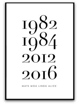 Poster - Familj med årtal & namn - A5 matt fotopapper