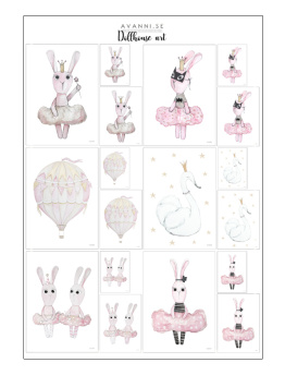 Dollhouse art - Posters till dockhus - Ballerina bunny and friends prints