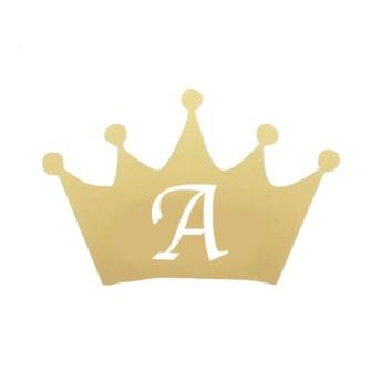 Wall stickers - Krona med egen bokstav till dockhus - guld 3cm