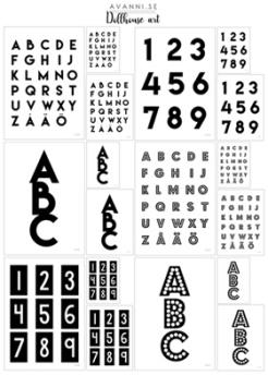 Posters till dockhus - Alfabetet och siffror svart