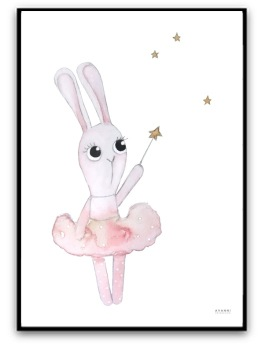 Poster - Ballerina bunny under the stars - A4 matt fotopapper
