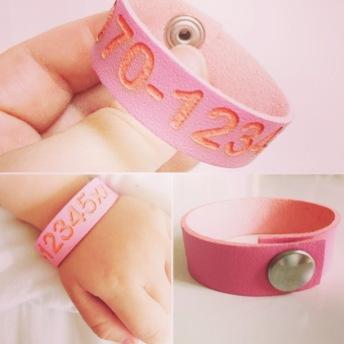 Armband - Med nummer & namn - Rosa