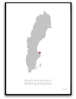 Poster - Home is where the heart is - A4 matt fotopapper (RÖD)