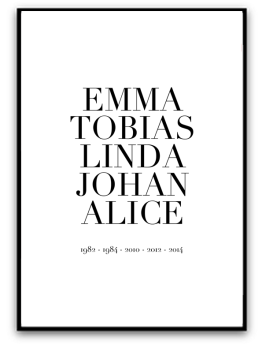 Poster - Familj och årtal - A4 matt fotopapper