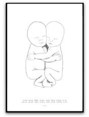 Målning tvillingar - Namn & födelsebild
