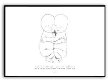 Målning tvillingar - Namn & födelsebild - A4 matt fotopapper (liggande)