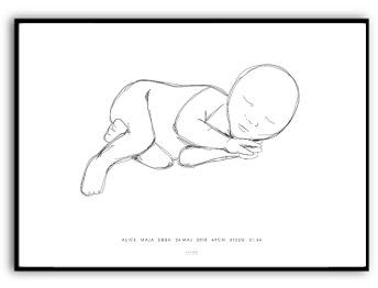 Målning baby - Namn & födelsebild - A4 matt fotopapper (liggande)
