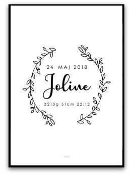Poster - Namn & födelsebild - A4 matt fotopapper