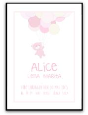 Namn & Födelsebild -Rosa nalle