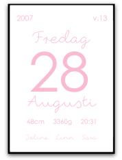 Namn & födelsebild - Rosa