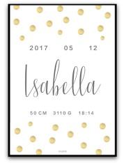 Namn & födelsebild - Guld/grå