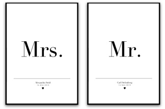 Parposter - Mr & Mrs - A5 matt fotopapper
