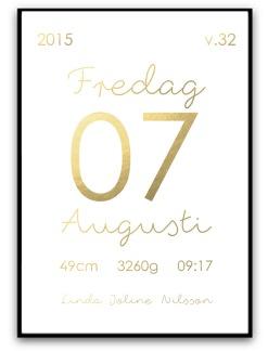 Namn & födelsebild - Guld - A4 matt fotopapper