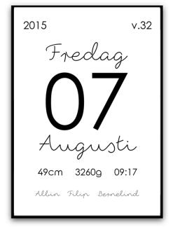 Namn & födelsebild - Svart - A4 220g matt fotopapper